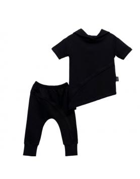 Σετ ασύμμετρο μπλουζάκι με παντελόνι UNISEX MOI NOI MN50782 ΜΑΥΡΟ