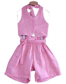 Σετ γιλέκο και βερμούδα σατέν οργάντζα MELIN ROSE MRS21-649 BABY PINK