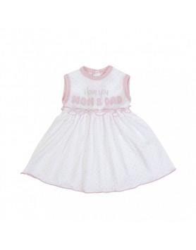 Αμάνικο Βαμβακερό Φόρεμα FS Baby  14784 λευκό